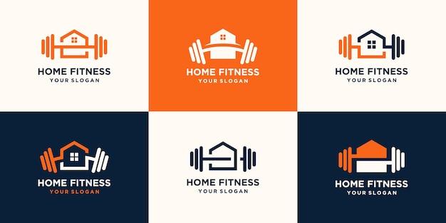 Set di logo casa fitness astratto. kettlebell combinato con manubri e design del logo del cuore