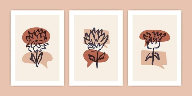 Set di fiori astratti con illustrazione di bolle di chat