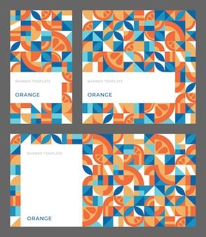 Set di sfondi geometrici astratti con spazio di copia modello vettoriale con arancia in stile bauhaus per social media di storie di banner pubblicitari semplici forme ripetute mosaico modello senza cuciture Vettore Premium