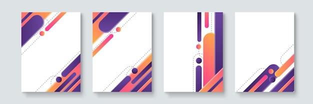 Set di manifesti vettoriali minimi geometrici astratti in stile neo-memphis, bauhaus, vaporwave. collezione di copertine futuristiche retrò per feste in discoteca, concerti di musica, promo da bar