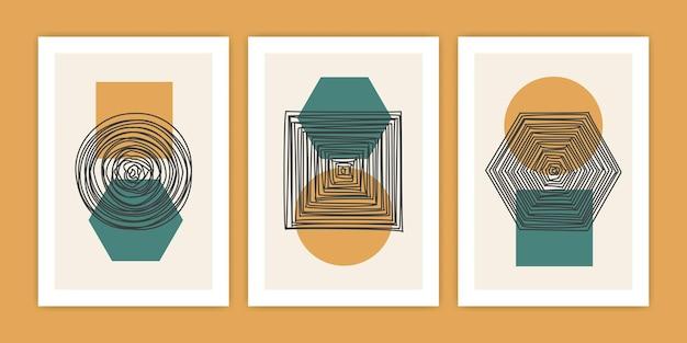 Insieme dell'illustrazione del manifesto di forma geometrica astratta