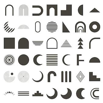 Insieme di forme geometriche astratte. sagoma nera. elementi boho arcobaleno, arco, fasi lunari. insegne per manifesti, striscioni e locandine. illustrazione vettoriale.