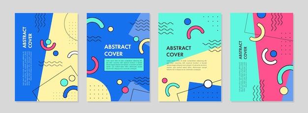 Set di design di stampa modello geometrico astratto per la relazione annuale di copertina dell'invito