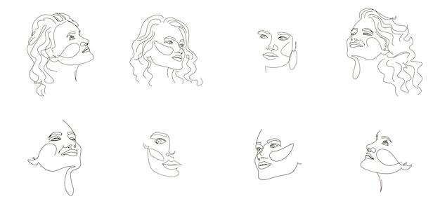 Serie di ritratti di ragazza astratta in uno stile di linea.