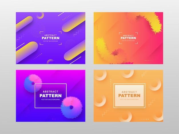 Set di sfondo sfumato astratto può essere utilizzato come poster design