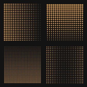Set di sfondi astratti mezzitoni. puntini di colore marrone su nero