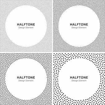 Set di sfondi di semitono astratto dots frame. cerchio sfondi.