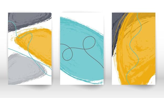 Set di poster di arte moderna disegnati a mano astratti. design contemporaneo con forme doodle.
