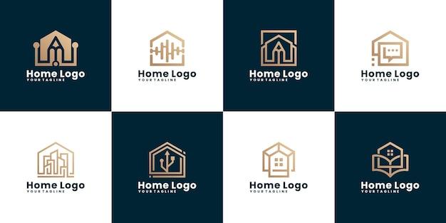 Set di modelli di logo di costruzione domestica astratta