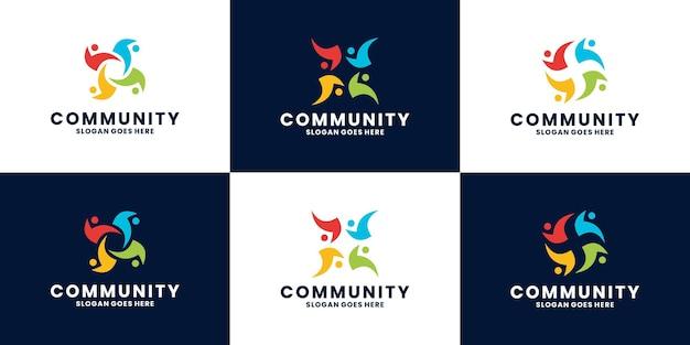 Set di vettore di progettazione del logo astratto della comunità umana