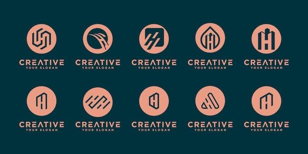Set di design del logo h.monogram iniziale astratto, icone per affari di lusso, elegante e casuale.
