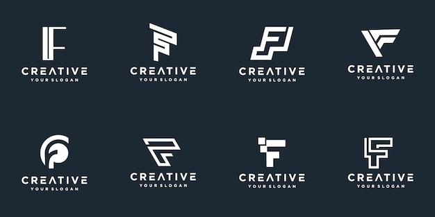 Insieme del modello di logo astratto lettera iniziale f.