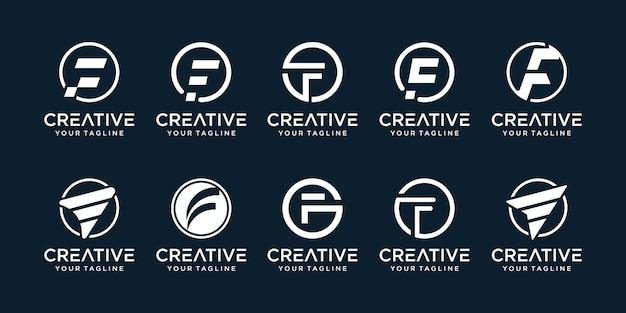 Insieme della lettera iniziale astratta f con le icone del modello del logo del concetto di cerchio per l'attività di connessione
