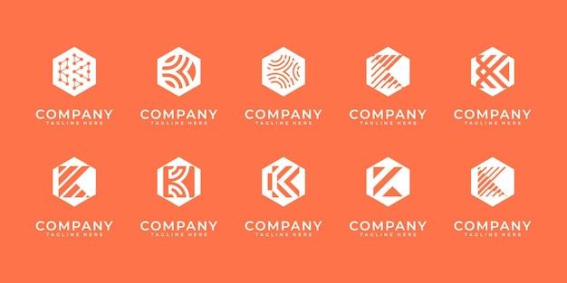 Set di lettera iniziale astratta k, modello di progettazione di logo. icone per affari di lusso,elegante,semplice.