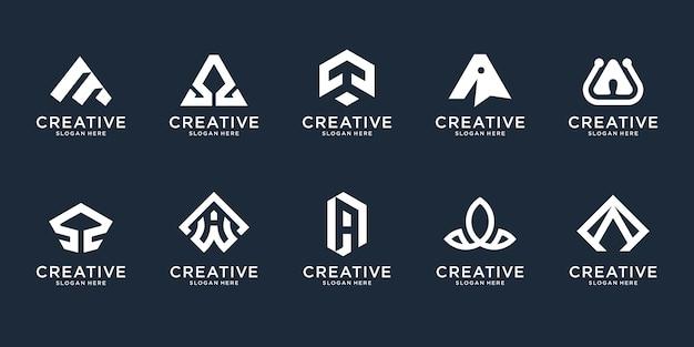Insieme della lettera iniziale astratta un modello di progettazione di logo. icone per affari di lusso