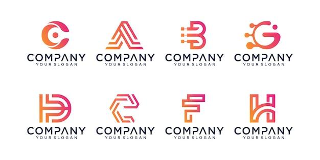 Insieme del modello di progettazione di logo di lettera iniziale astratta