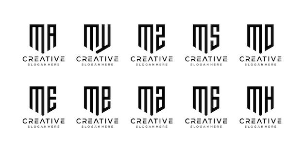Set di modello di logo astratto lettera iniziale m.