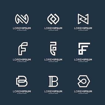 Set di astratto lettera iniziale n, lettera f e lettera b modello di logo. icone per affari di lusso, eleganti, semplici.