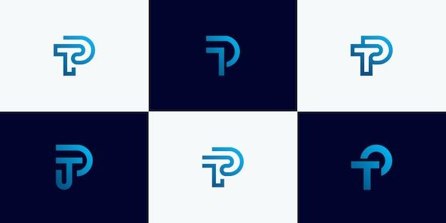 Set di astratto lettera iniziale t, modello di progettazione di logo di lettera p. icone per affari di lusso, eleganti, semplici.