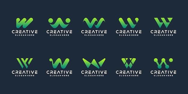 Set di astratto lettera iniziale w modello logo