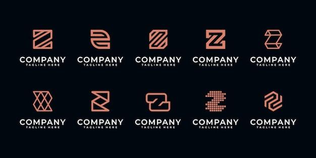 Set di astratto lettera iniziale z, modello di logo. icone per affari di lusso, eleganti, semplici.