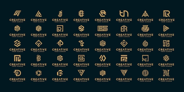 Set di abstract iniziale az. monogramma logo design