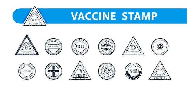 Set di timbri a inchiostro astratti per documenti medici e altri bisogni vaccinati