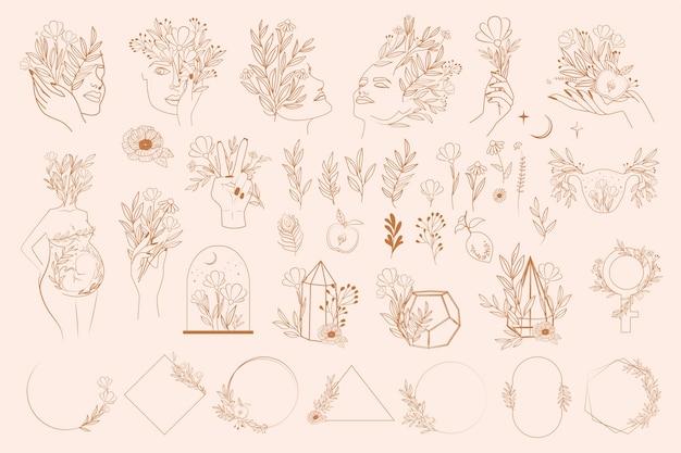 Set di elementi astratti di foglie e fiori, mani e ritratto di ragazza in uno stile di linea.
