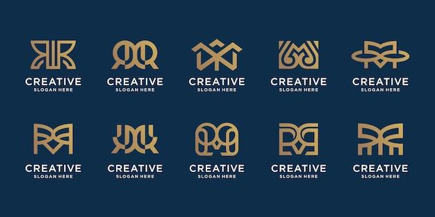 Set di modello di progettazione logo astratto lettera m logotipi per il business della tecnologia elegante digitale astratto vettore premium