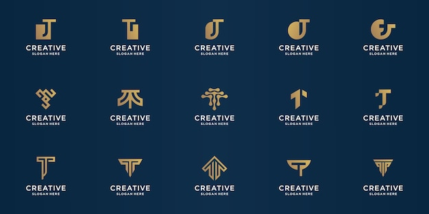 Set di modello di disegno astratto lettera t. oro, lusso, vettore premium.