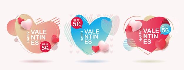 Set di astratto banner liquido design.vendita di san valentino banner.