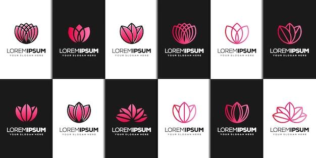 Imposta il modello di logo astratto del loto