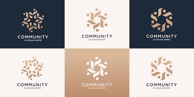 Set di famiglia di persone di lusso astratto e modello di logo di unità umana.