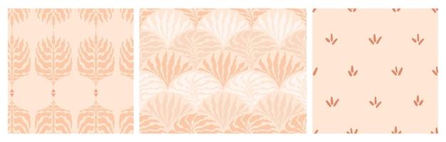 Set di astratto minimalista senza soluzione di continuità con punti disegnati a mano e foglie in uno stile di metà secolo