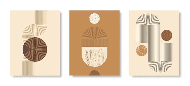 Set di sfondi astratti di arte moderna con semplici forme geometriche di linee e cerchi. illustrazione vettoriale boho in stile minimalista e colori terra per poster, copertina, banner, post sui social media