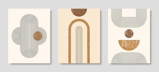 Set di sfondi astratti di arte moderna con semplici forme geometriche di linee e cerchi. illustrazione vettoriale boho