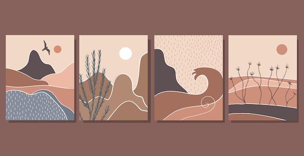 Set di poster di arte moderna astratta. paesaggio in stile retrò. minimalismo.