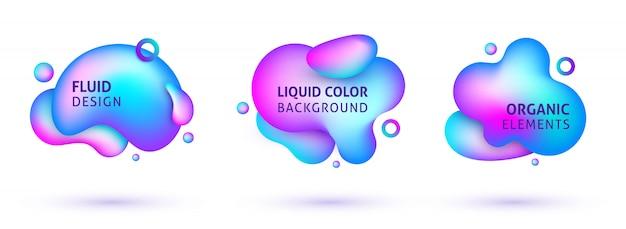 Insieme di elementi liquidi astratti al neon sfumato moderno.