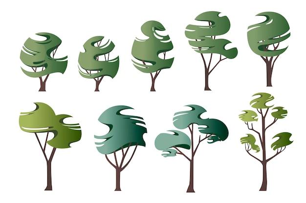 Insieme dell'illustrazione piana di vettore degli alberi verdi stilizzati moderni astratti isolati su fondo bianco.