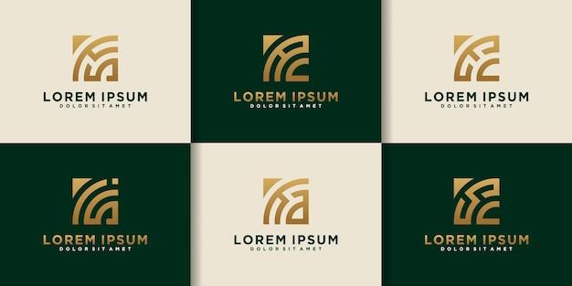 Set di modello di logo aes iniziale monogramma astratto