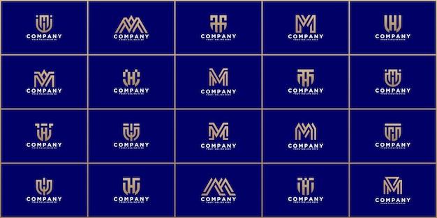 Set di astratto monogramma lettera iniziale m, k, modello di logo t