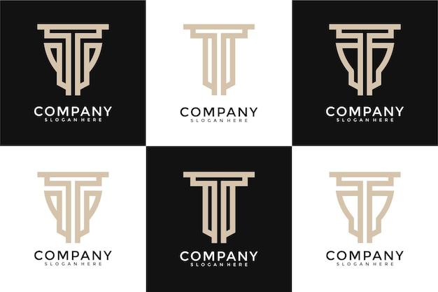 Set di monogramma astratto lettera iniziale t logo modello di progettazione
