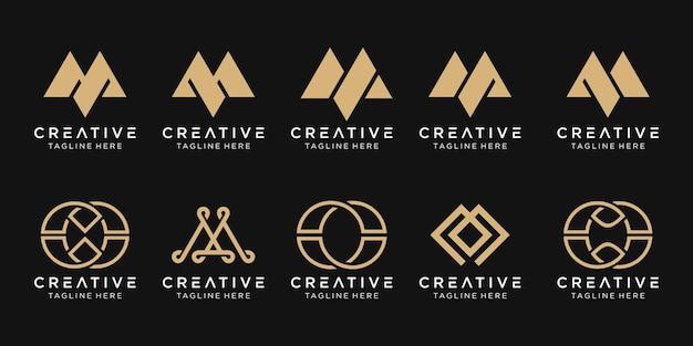 Set di modello di logo m iniziale monogramma astratto.