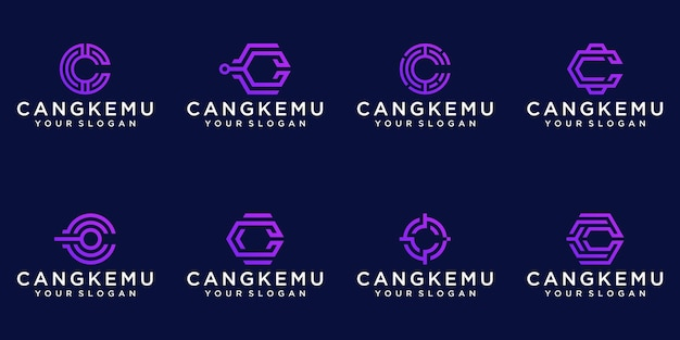 Set di monogramma astratto lettera c logo modello