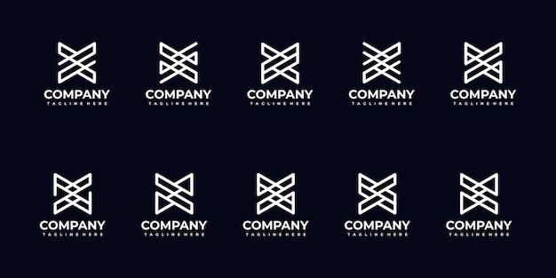 Set di raccolta di logo lettera monogramma astratto per azienda