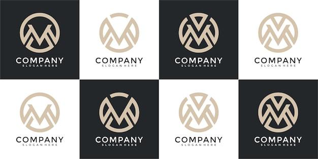 Set di monogramma astratto lettera m logo design