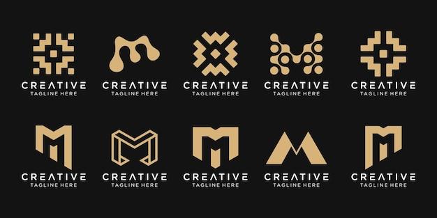 Set di modello di logo astratto lettera m monogramma.