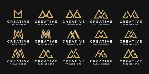 Set di icone di modello di logo astratto monogramma lettera mm ma mv per il business della moda semplice