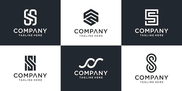 Set di modello di logo astratto lettera s monogramma.