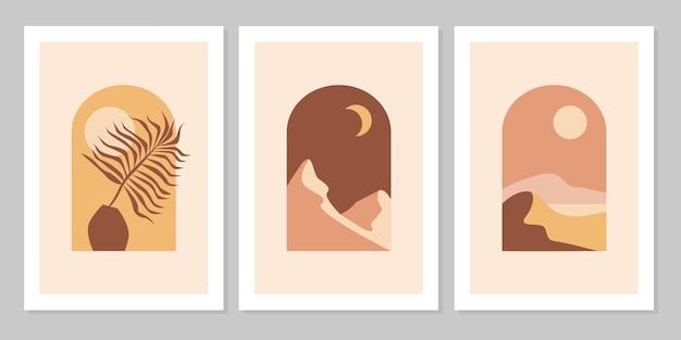 Set di paesaggi montani astratti in archi con tramonto, sole, luna, vaso, foglia in stile estetico, minimalista di metà secolo nei toni naturali della terra, terracotta, beige. decorazione da parete in stile bohémien.